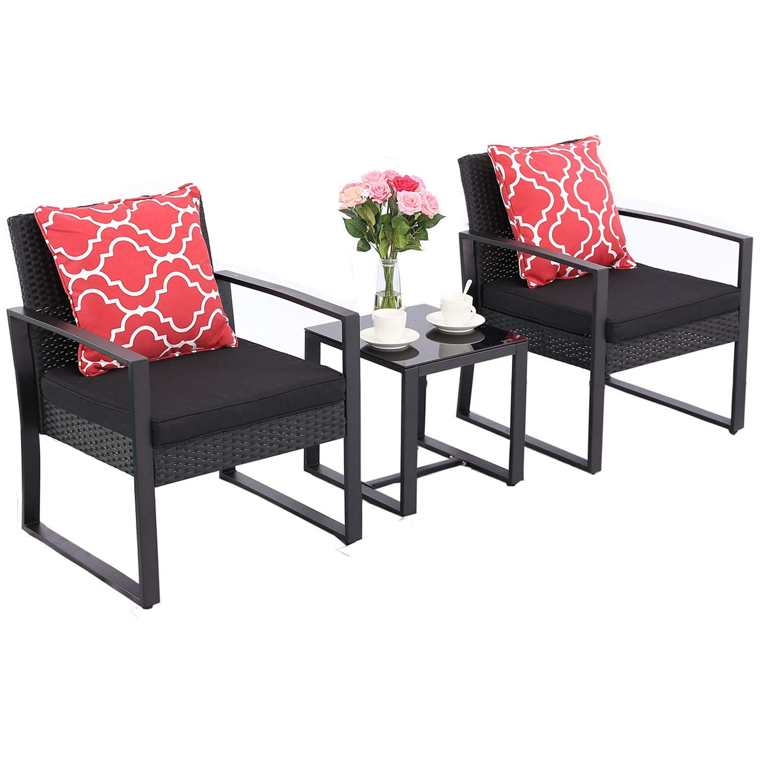 Awesome Details About Htth 3 Pieces Outdoor Chair Sets Two Chairs Rattan With Glass Coffee Table Andrewgaddart Wooden Chair Designs For Living Room Andrewgaddartcom